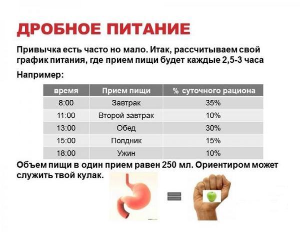 график приема пищи при дробном питании