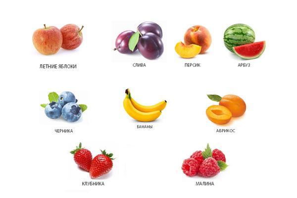 разрешенные фрукты и ягоды